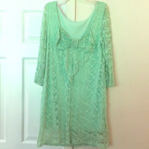 Coveted clothing mint green lace dress .